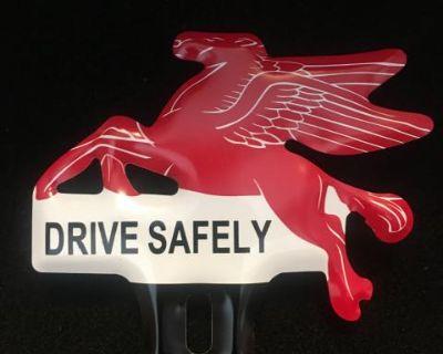 New Mobil oil flying horse license plate emblem