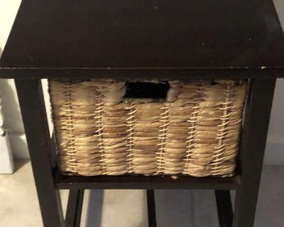 Side Table with Water Hyacinth basket