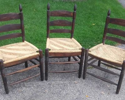 3 Rustic style Wood Chairs