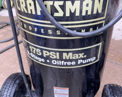 Craftsman professional 25 gallon 175 psi 2 stage air compressor heavy duty air hose Powers briargate