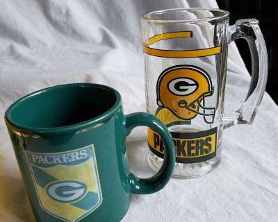 NFL Green Bay Packers glass beer stein and coffee mug