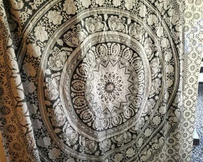 Fabric Indian wall or bed decor elephants .