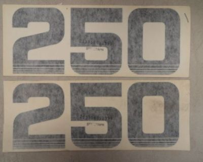 """250 Number Decal Pair (2) 8-3/4"""" X 3-1/2"""" Navy Blue Marine Boat"""