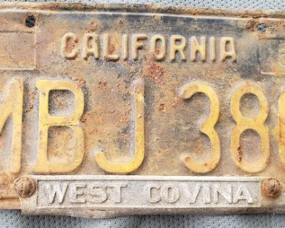 vintage California black license plate