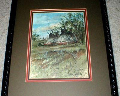 Native American Signed Watercolor Art Print -  Tee Pees - John A. White