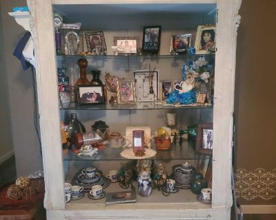 Guc Beautiful wood cabinet converted to glass shelves with huge bottom drawer