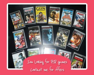I m looking for PSP games (complete or not) doesn t matter