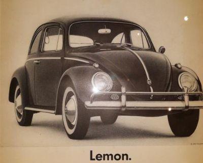 Vintage VW Beetle Large Format Framed Ads