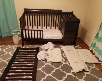 Crib, mattress, toddler rail, sheets bumper