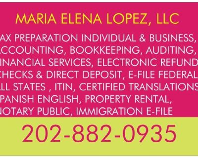 TAX SERVICE, NOTARY PUBLIC, TRANSLATION, RENTAL PROPERTY AND MANAGEMENT, GENERAL CONTRACTOR