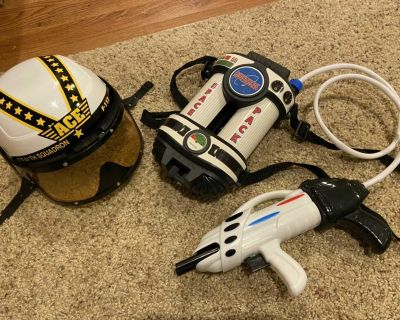 Astronaut space pack and helmet lot
