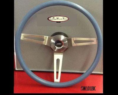 """Camaro Chevelle Nova 3 Spoke Comfort Grip Steering Wheel Kit Blue 15"""""""