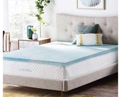 Never Used Linenspa 2 Inch Gel Swirl Memory Foam Topper-Queen