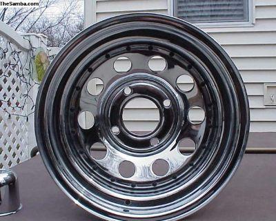 """Pair of 8"""" wide Chrome Steel Wheels"""