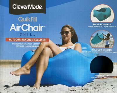 CleverMade Inflatable Lounger - Portable Outdoor Chair with Carry Bag: TWO Available PRICED INDIVIDUALLY - NIB