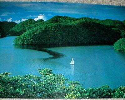 "Sailboat in Water - Vtg Wall Art Poster - 1978 - 14"" x 21""  - Unframed"
