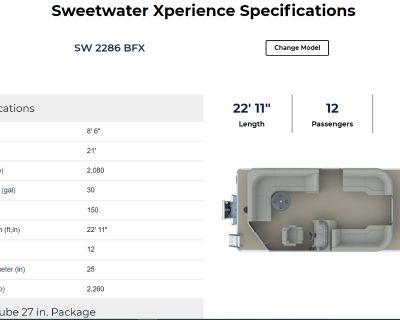 2022 Sweetwater 2286BFX Pontoon Boats Lafayette, LA
