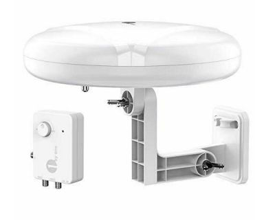 HDTV Antenna - 360 Omni-Directional Reception Amplified Long Range, Support 4K, 1080P, UHF, VHF, HDTV Channels - Support 2 TVs