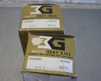 Pair Of Vintage Nos Auto Seat Belt Model 721 White Front Seat Belts Hot Rat Rod