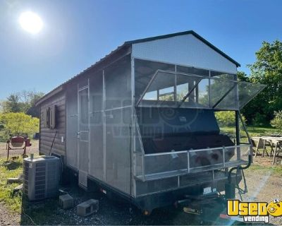 Large Used Fixer Upper Mobile Barbecue Concession Trailer with Porch and Smoker