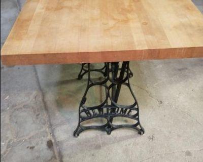 Iron butcher block table.