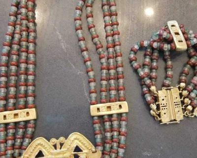 24k Gold Plated Aztec Necklace and Bracelet from Peru
