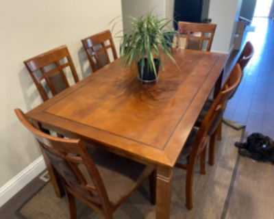 6 Person Wood Dining Table Set with Suede Decorated Chairs