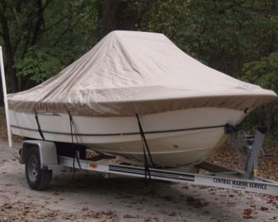 """New Vortex Tan/beige 19'6"""" Center Console Boat Cover, For Up To 54"""" Tall Console"""