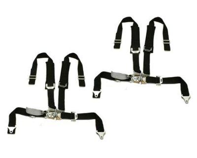 2 Polaris Ranger Tiger 4 Point H Harness Seat Belts Latch & Link 2x2 W Pad Black