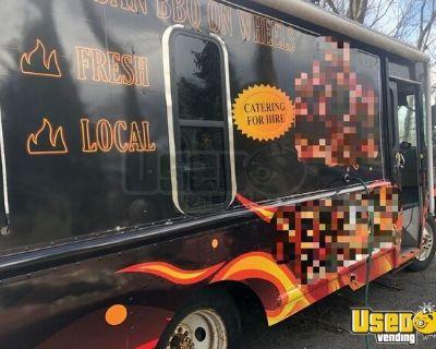 GMC Stepvan Food Truck with VW Cocktail Van + Open BBQ Smoker Trailer