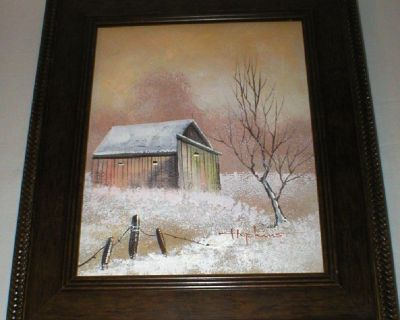 """Neglected"" Old Barn Original Oil w/COA Signed Hopkins, Artist -Framed"