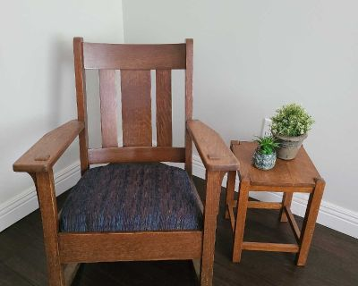 Mission Style Rocker Chair and Side Table