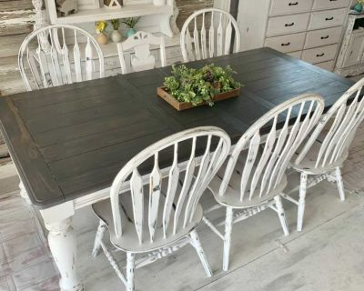 Shabby kitchen table and 7 mis matched chairs