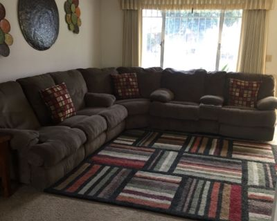 3 piece brown material sectional
