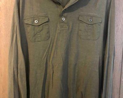 Men s 2XL Green Hooded Shirt