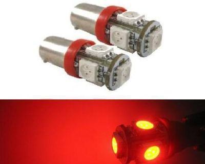 4x 5smd Ba9s Led Light Bulbs Red 1445 64111 Map Dome Reading License Plate Lamps