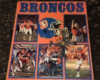 Vintage 1988 Denver Broncos starline art and clock
