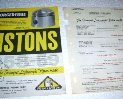 1957 Forgedtrue Racing Piston Catalog Literature Prices Chrysler Hemi Etc