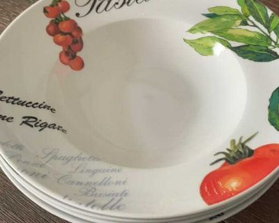 Pasta plates, mixing bowls, serving dishes