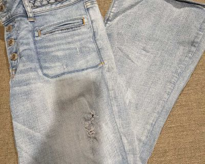 American Eagle size 12 short distressed flare jeans