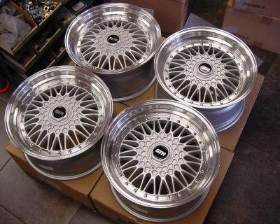 """17"""" Rs Style Staggered Wheels 4x100 / 4x114 Silver Rims E30 Xb 240 Accord 240sx"""
