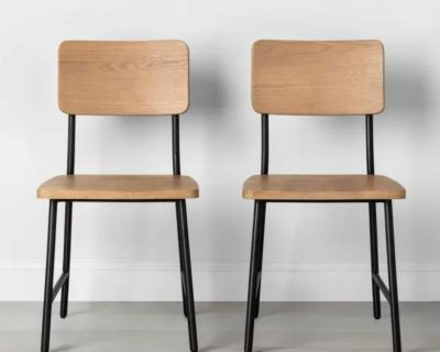 NEW - IN-BOX - TWO (2) HEARTH & HAND WOOD/STEEL DINING CHAIRS