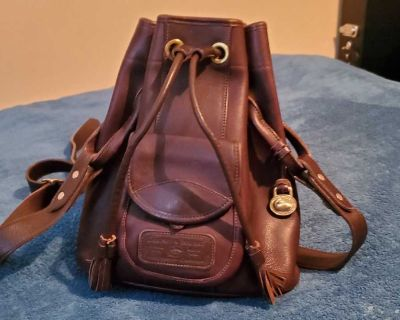Dooney and burke genuine leather drawstring purse
