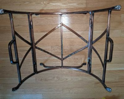 Solid Cast Iron log wood rack for fireplace with removable black log carrier