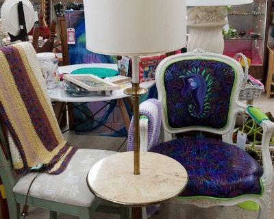 Marble, Wood & Brass Table Lamp #891-81