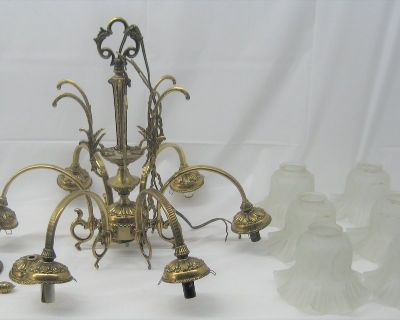 VINTAGE BRASS CHANDELIER - MADE IN SPAIN - 6 LIGHTS/ARMS - FROSTED GLASS SHADES