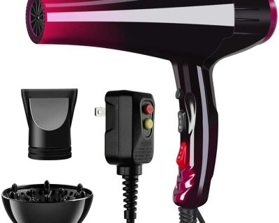 3500W Professional Hair Dryer with Blue Light Far Infrared Negative Ionic Fast Drying with Attachments by Somoya