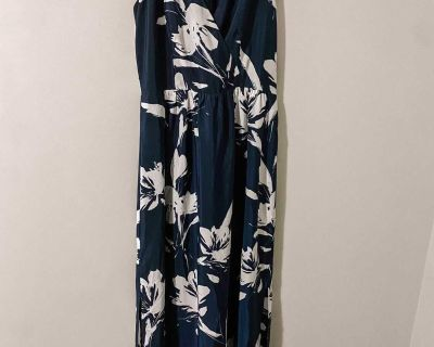 Navy Blue and White Maxi Dress