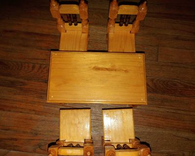 Wood doll table and chair set