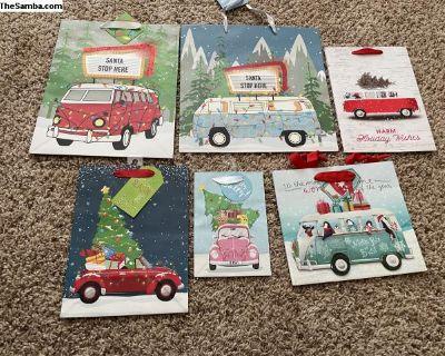 6x New VW Bus & Beetle Christmas Gift Bags